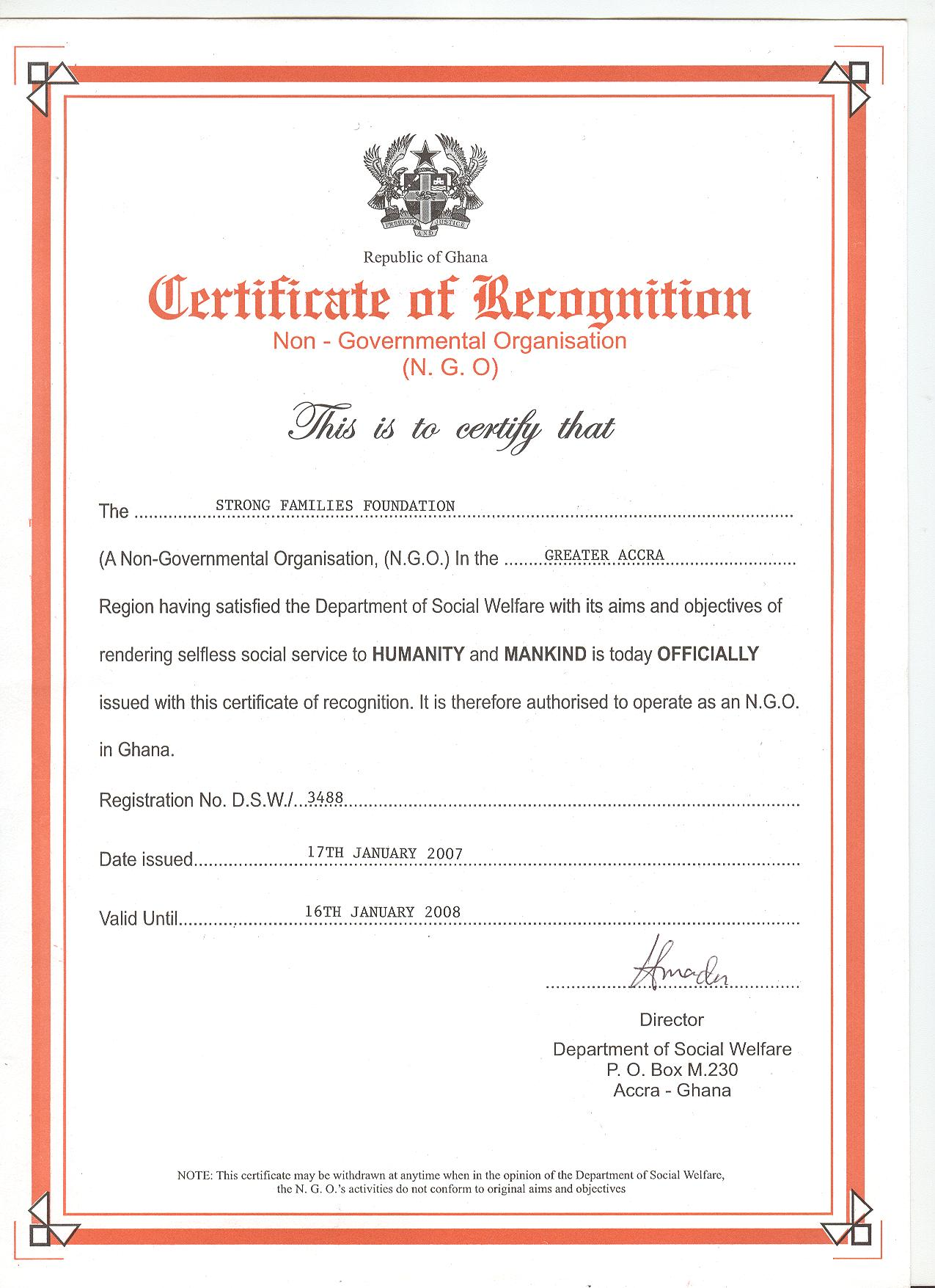 Strong family foundation certification of recognition 1betcityfo Gallery